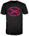 Life Good Cancer Bad™ Men's T-Shirt Black/Hot Pink Logo