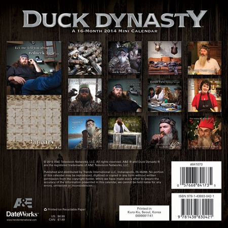 "Wholesale Duck Dynasty 2014 Calendar Mini 7"" x 7"""