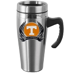 Wholesale Officially Licensed Collegiate Stainless Steel Travel Mug with Handle and FLAME Logo