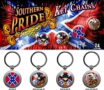 Confederate Rebel Southern Pride Zinc Keychain 4 Count Assortment