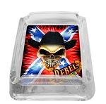 Confederate Rebel Flag Cowboy Skull Glass Ashtray
