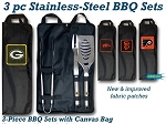 Wholesale Official Licensed Collegiate 3 PC Stainless Steel BBQ Set w/Canvas Bag