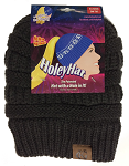 HoleyHat Ponytail Knit Hat with a Hole in it! Charcoal