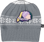 HoleyHat Ponytail Knit Hat with a Hole in it! Gray with white snowflake