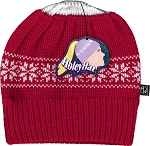 HoleyHat Ponytail Knit Hat with a Hole in it! Red with white snowflake