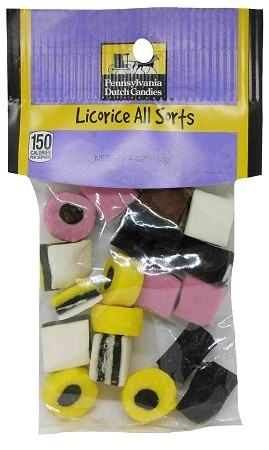Old Fashioned LICORICE ALL SORTS 4 oz. Hanging Bag