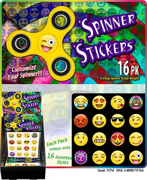 EMOJI Spinner Stickers Assorted Styles 16pk