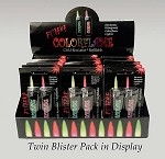 COLOR FLAME Twin Pk WINDPROOF Lighters Ruby Red & Emerald Green Flames Counter Display 1/30CT