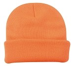 Hunter Orange Knit Beanie Cap with Cuff 'Extreme Protection'