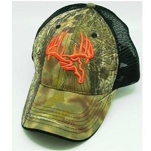 Longleaf Mesh back Camo Cap, Orange logo