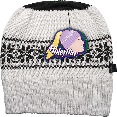 HoleyHat Ponytail Knit Hat with a Hole in it! White with black snowflake