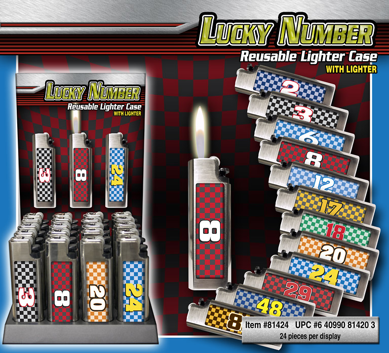 Lucky # Lighter Cases 24ct Display