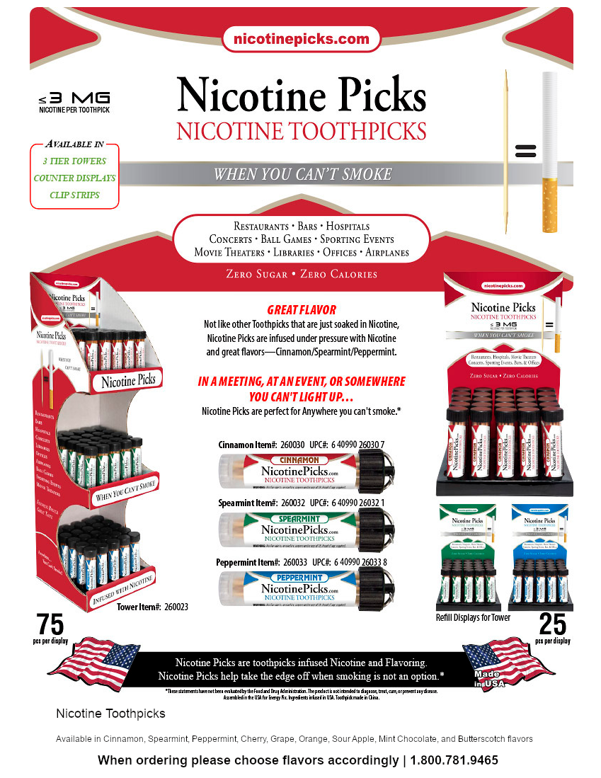 Nicotine Pick Toothpicks 75ct display - 3 Assorted Flavors