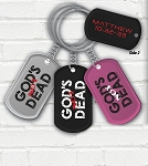God's Not Dead Dog Tag Key Chain, Assorted Colors
