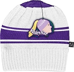 HoleyHat Ponytail Knit Hat with a Hole in it! White with purple stripe