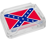 Confederate Rebel Flag Glass Ashtray