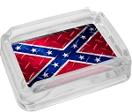 Confederate Rebel Flag Diamond Plate Glass Ashtray