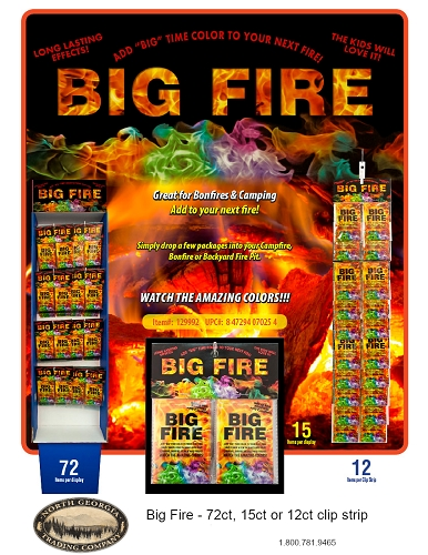 BIG FIRE COLOR DISPLAY PAKS 12ct Clip Strip