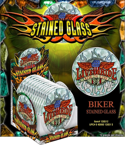 Biker Stained Glass 12ct Display
