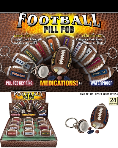 Football Pill Fobs 24ct Display
