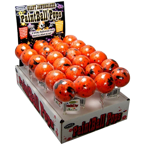 ESPEEZ HALLOWEEN PAINTBALL POPS (ORANGE) 2.3 OZ. 24CT DISPLAY