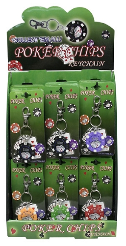 Poker Chip Key Chains 24ct Display