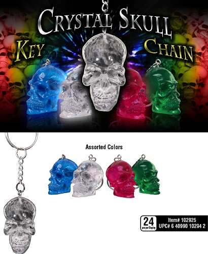 Crystal Skull Key Chains 24ct Display