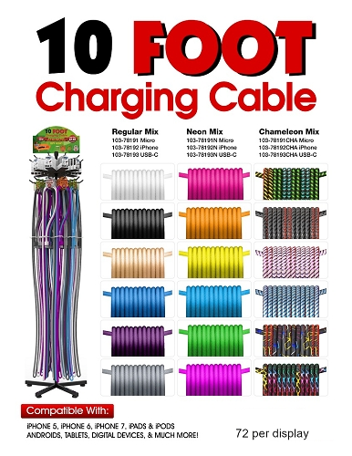 10 Foot Charging Cable 72 ct