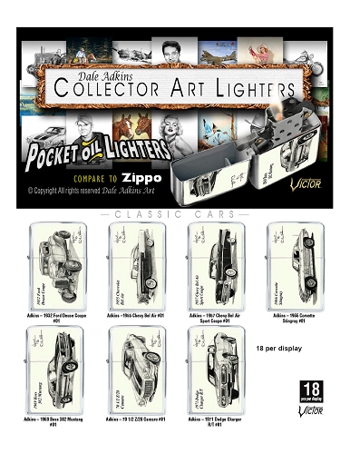 Dale Adkins Collector Classic Car Art Oil Lighters 18ct Display
