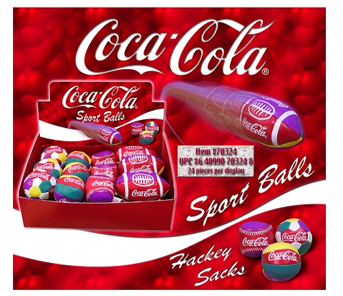 Coca Cola Hackey Sacks Sport Balls 24ct Display