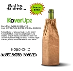 KOVERUPZ  HOBO-CHIC BAG INSULATED WINE BOTTLE COOLER BROWN BAG DESIGN