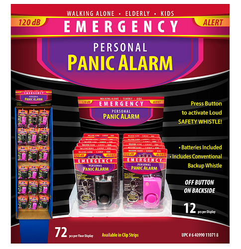 Panic Alarm W/Whistle 12ct & 72ct displays