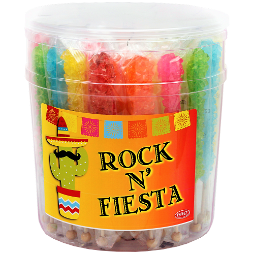 ESPEEZ FIESTA ROCK CANDY ON A STICK 22G 36CT JAR