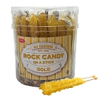 Wholesale Old Fashioned Rock Candy Crystals on a Stick Gold/Plain 22G 36CT JAR