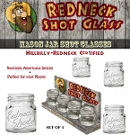 Redneck Shot Glass Set of 4 Mason Jar Shot Glasses 2oz.