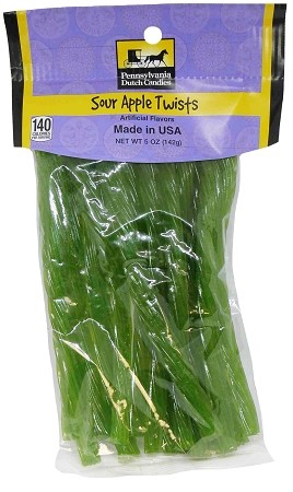Old Fashioned SOUR APPLE LICORICE TWISTS 5 oz. Hanging Bag