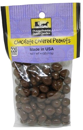 Old Fashioned CHOCOLATE COVERED PEANUTS 4 oz. Hanging Bag