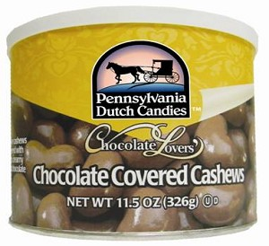 Dutch Treats Chocolate Covered Cashews Made in USA 11.5 oz. Can