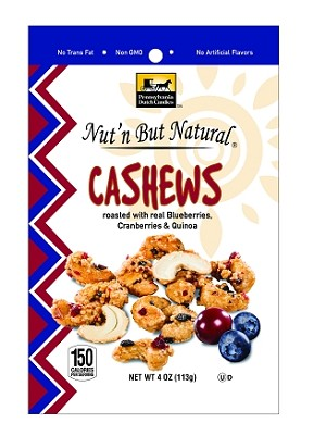 Nut'n But Natural® CASHEWS Roasted w/Real Blueberries, Cranberries, & Quinoa 4oz. Bag