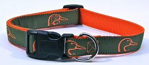DUCKS UNLIMTED DOG COLLAR GREEN