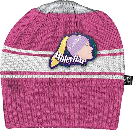 HoleyHat Ponytail Knit Hat with a Hole in it! Pink with White Stripe