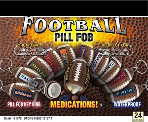 Football Shaped Pill Fob 24CT Display