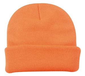 Hunter Orange Knit Beanie Cap with Cuff 'Moderate Protection'